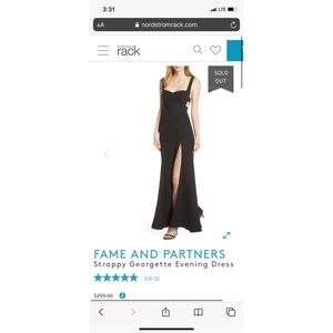 Fame and Partners Black Cutout Mermaid Gown